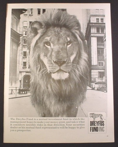 Magazine Ad For Dreyfus Fund Inc Mutual Investments Lion