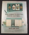 Magazine Ad for Gilette Gift Set, Sun Sup, After Shave & Cologne, 1966, 10 3/8 by 13 3/4