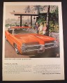 Magazine Ad for Wide Track Pontiac Catalina Car, Red, Front & Side View, 1967, 10 1/2 by 13 5/8