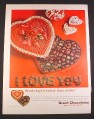 Magazine Ad for Brach Chocolates, Valentine's Day, Candies, 1964, 10 1/2 by 13 3/4