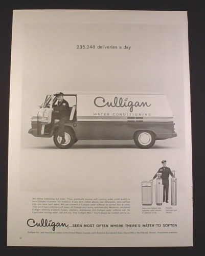 Magazine Ad For Culligan Man With Delivery Van Water
