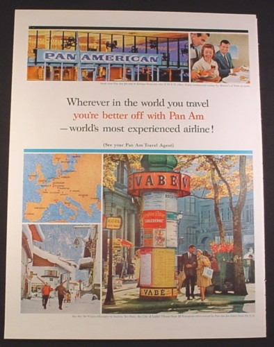 Magazine Ad for Pan American Pan Am Airline, World's Most ...