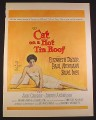 Magazine Ad for Cat On A Hot Tin Roof Movie, Elizabeth Taylor, Paul Newman, 1958