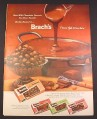 Magazine Ad for Brach's Milk Chocolate Peanuts, Clusters, Bridge Mix, 1958, 10 1/2 by 13 7/8