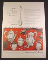 Magazine Ad for International Sterling Service Set, Prelude Pattern, 1958, 10 1/2 by 13 7/8