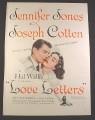Magazine Ad for Love Letters Movie, Jennifer Jones Joseph Cotten, 1945, 10 1/2 by 13 7/8