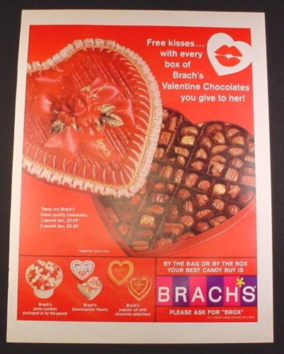 Magazine Ad for Brach's Candy & Chocolate, Heart Shaped ...