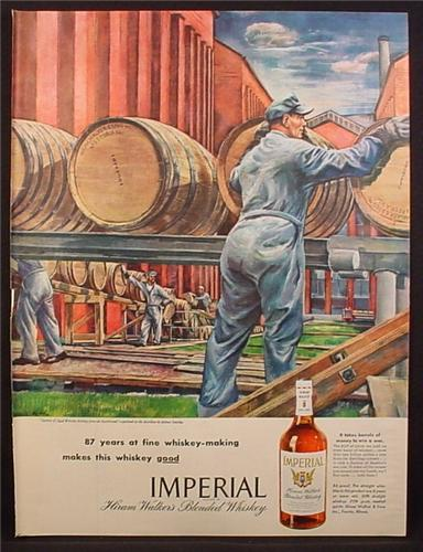 Magazine Ad for Imperial Blended Whiskey, Barrels Rolling, Illustration by Zoltan Sepesby, 1945