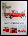 Magazine Ad for 64 Ford Pickup Red Truck, Construction Site, 1964