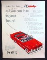 Magazine Ad for Ford Red Crestline Convertible Car, All You Can Lose Is Your Heart, 1953