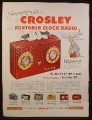 Magazine Ad for Crosley Portable Clock Radio, Skymaster, 6 Other Models, 1953