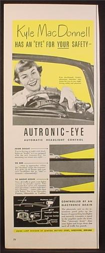 Magazine Ad for Autronic Eye, Automatic Headlight Control, Kyle MacDonnell  1953