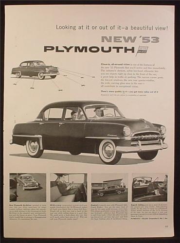 Magazine Ad for 53 Plymouth Cranbrook Car, 4 Door Sedan, 1953