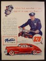 Magazine Ad for Pontiac Streamliner Torpedo Car, Policeman on Motorcycle, 1941