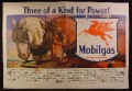 Magazine Ad for Mobilgas, Large Logo with 4 Legged Pegasus, 2 Draft Horses, 1941