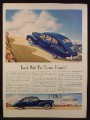 Magazine Ad for Lincoln Zephyr V12 Blue Car, Side & Back Views, 1941
