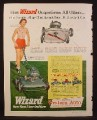 Magazine Ad for Wizard Power Mower & Lawn Conditioner, 1953
