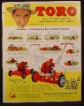 Magazine Ad for Toro Power Lawn Mowers, Sam Snead, Celebrity Endorsement, 1953