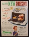 Magazine Ad for Gibson Oven range, Ups A Daisy Deep Well Cooker, 2 Ovens, 1953