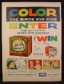 Magazine Ad for Birds Eye Frozen Foods, Kid's Coloring Contest for RCA TV Set, 1956