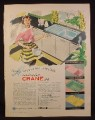 Magazine Ad for Crane Kitchen Sinks in Yellow Green Pink & Blue, 1956