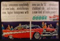 Magazine Ad for Dodge 1957 Mayfair Car, Red, Front & Side View, 1956