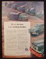 Magazine Ad for GMC Blue Chip Commercial Use Trucks, Construction, 1956
