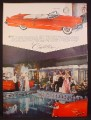 Magazine Ad for Red Cadillac Convertible Car, Palm Springs Racquet Club, 1956