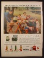 Magazine Ad for Thermos Brand Coolers Picnic Supplies, 1956