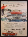Magazine Ad for Plymouth Belvedere 4 Door Hardtop Car, Front Grill & Side Views, 1957