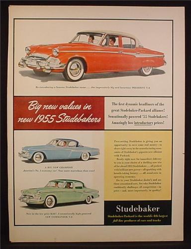 Magazine Ad for 1955 Studebaker Cars, President, Champion, Commander, 1954