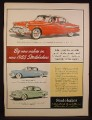 Magazine Ad for 1955 Studebaker Cars, President, Champion, Commander, 1954