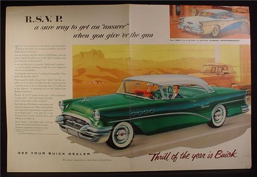Magazine Ad for Buick Century Cars, Green with White Roof, 1955