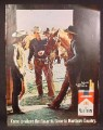 Magazine Ad for Marlboro Cigarettes, 3 Cowboys with Horses, 1969