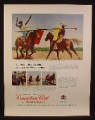 Magazine Ad for Canadian Club Whiskey, Jousting With a Mexican Charro, 1967