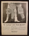 Magazine Ad for Sony Portable Television Sets, TV, 7-75W, 9-51W, Go Go Boots, 1967