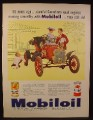 Magazine Ad for Mobiloil, 2 Different Cans, Antique Ford Car, 1960