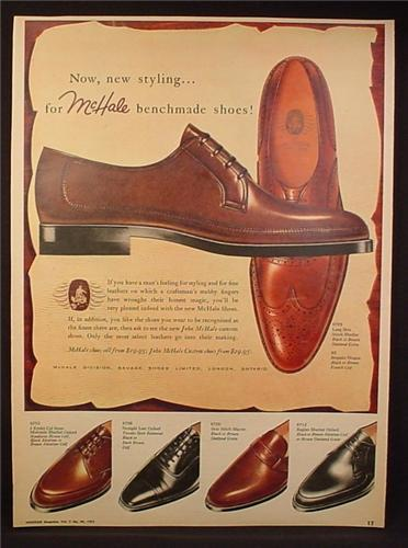 Magazine Ad for McHale Benchmade Men's Dress Shoes, 5 Styles, 1959