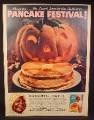 Magazine Ad for Aunt Jemima Pancakes, Jack-O-Lantern Pumpkin,, 1959
