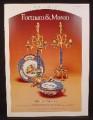 Magazine Ad for Fortnum & Mason Fine Blue Porcelain, Sevres, 1976