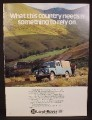 Magazine Ad for Land Rover, Parked on a Hillside, 1977