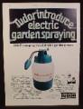 Magazine Ad for Tudor Electric Garden Sprayer, Great Britain, 1973