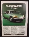 Magazine Ad for Citroen DS Car, Green Front & Side Views, Great Britain, 1974