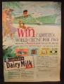 Magazine Ad for Cadbury Dairy Milk Chocolate Bar, World Cruise Contest, 1963
