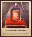 Magazine Ad for Canada Dry Table Water, 160 Ounce Glass Bottle on Red Pillow, 1967