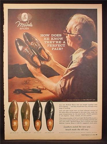 Magazine Ad for McHale men's Dress Shoes, 4 Styles, Falcon Satellite Thor Sorento, 1963