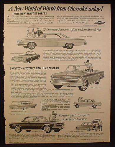 Magazine Ad for 1962 Chevrolet Cars, Nova 400 Convertible, Corvair Monza, 1961
