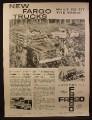 Magazine Ad for Chrysler Fargo Trucks, Farm Trucks, 1960