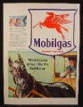 Magazine Ad for Mobilgas, Four Legged Flying Horse on Shield, Horse & Buggy, 1941