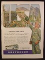 Magazine Ad for Greyhound Bus Lines, Soldier Going To See The USA, WWII, 1944